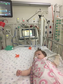 Lily in PICU after surgery